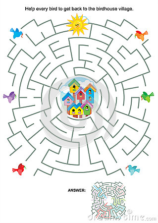 Free Maze Game For Kids - Birds And Birdhouses Royalty Free Stock Photos - 33058518