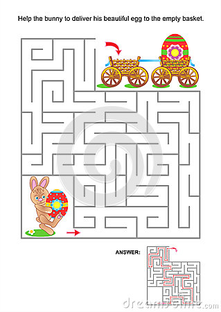 Free Maze Game For Kids With Bunny And Painted Eggs Stock Photo - 29914480