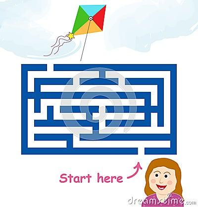 Maze game: girl & flying kite