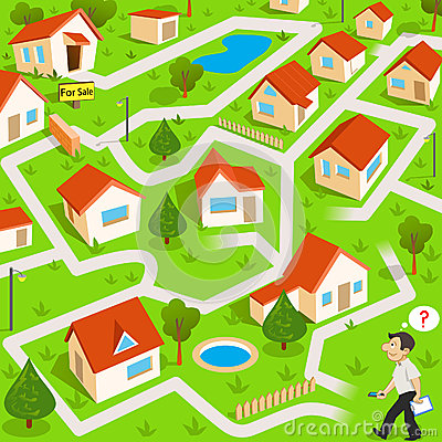 Free Maze Game With Real Estate Agent Stock Photos - 37518253