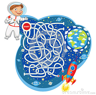 Free Maze Game With Solution. Funny Cartoon Character Royalty Free Stock Photo - 48375445