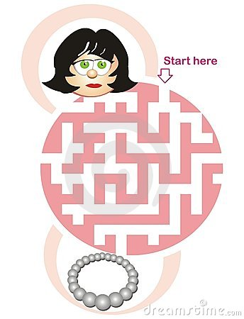 Maze game: woman and necklace