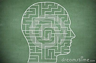 Maze in head on chalkboard