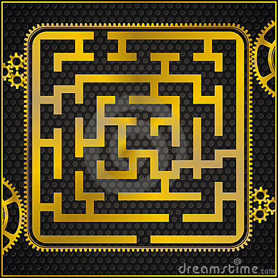 Maze or labyrinth as golden gear