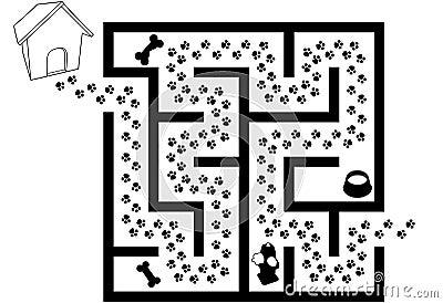 Maze Puzzle of Pet Puppy Dog Paw Prints Trail