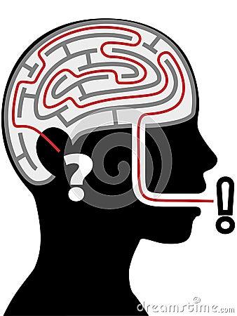 Maze puzzle silhouette person head question answer