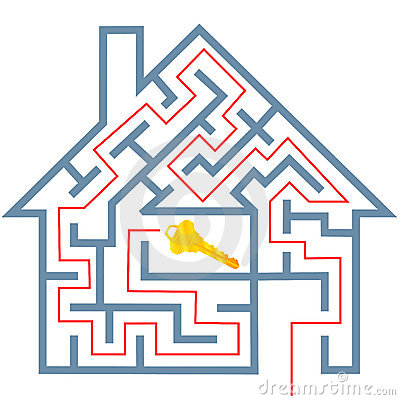 Free Maze Real Estate Home Puzzle Solution To House Key Stock Images - 8008574