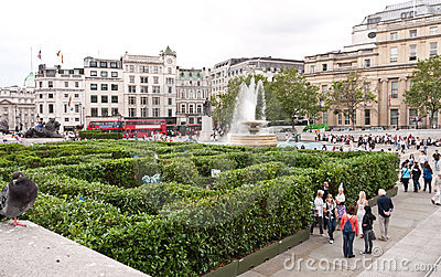 Maze at Trafalgar Square. Editorial Stock Image