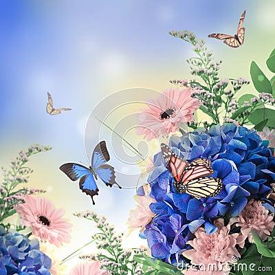 Mazzo dalle ortensie blu immagini stock immagine 31646464 for Disegni del mazzo del cortile