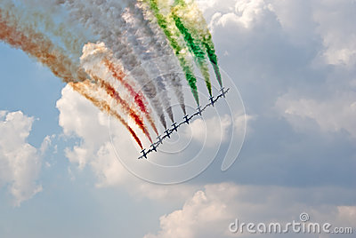 MB-399 planes from Frecce Tricolori team paint Italian flag Editorial Stock Image