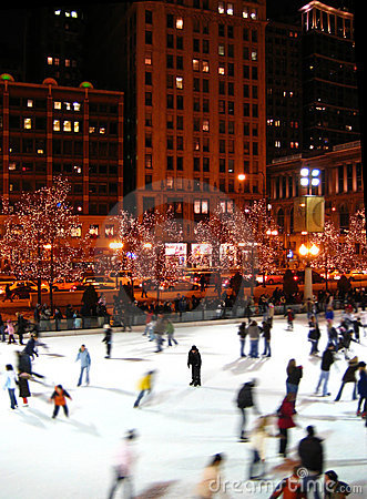 Free McCormick Tribune Ice Rink In Chicago Royalty Free Stock Photos - 4565488