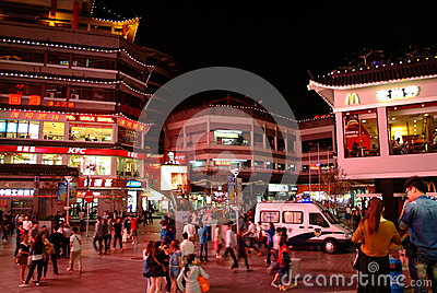 McDonald s and KFC in dongmen Pedestrian Street in Shenzhen, China Editorial Photo