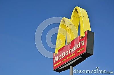 McDonald s Restaurant Sign Editorial Stock Photo