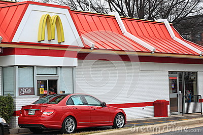 McDonalds Drive-thru Services Editorial Stock Photo