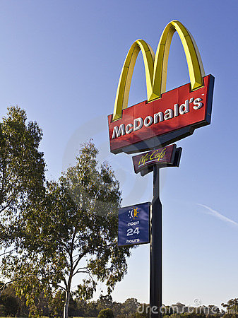 McDonalds highway sign Editorial Image
