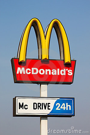 McDonalds logo on blue sky background Editorial Stock Photo