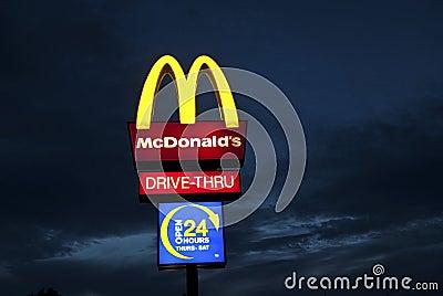 McDonalds sign at night Editorial Stock Photo