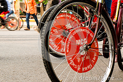 MCG branding on cycle tyre Editorial Photography