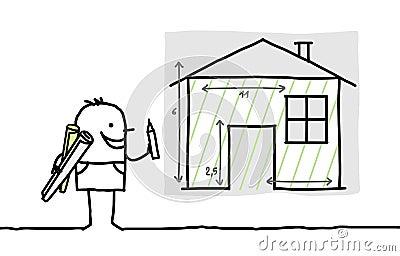 Mężczyzna rysunkowy domowy plan