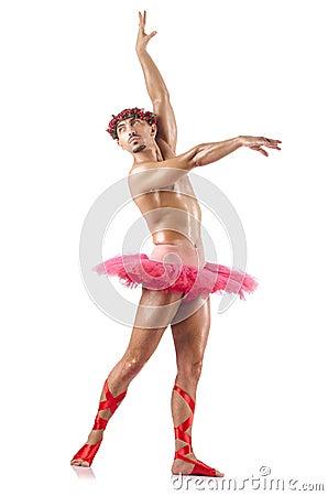 Mężczyzna w baletniczej spódniczce baletnicy