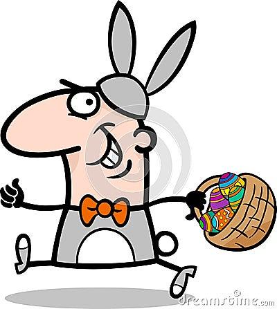 Mężczyzna w Easter królika kostiumu kreskówce