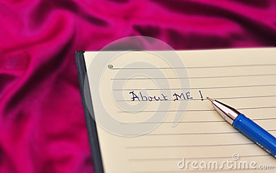 About me text on notebook