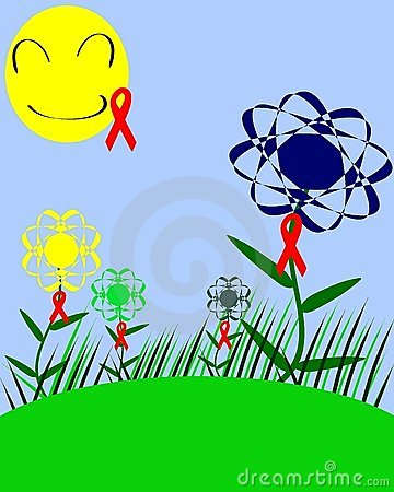 Colorful meadow with HIV ribbon