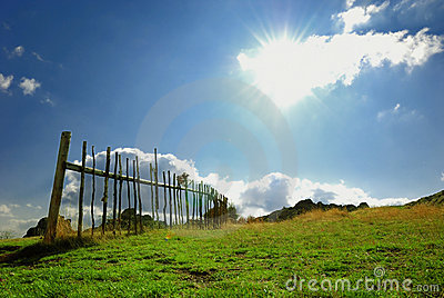 Meadow with fence and blue sky