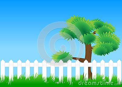Meadow fence tree