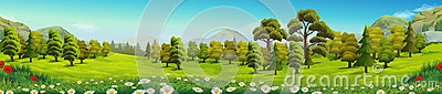 Meadow and forest nature landscape Vector Illustration