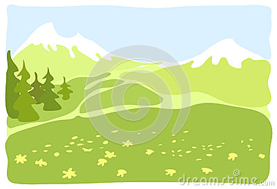 Meadow in a mountain valley.