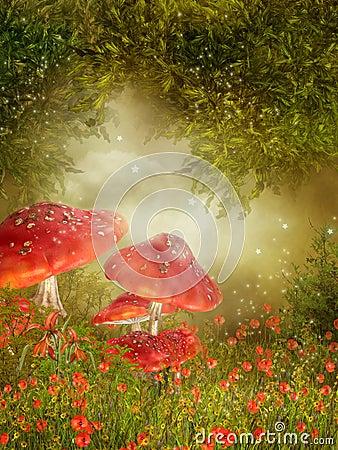 Free Meadow With Mushroom Royalty Free Stock Photo - 18095675
