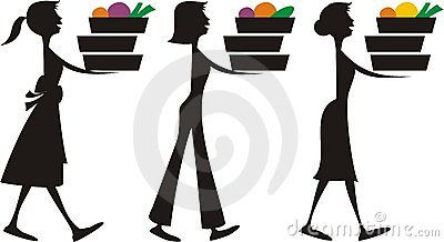 Meal assembly women carrying food