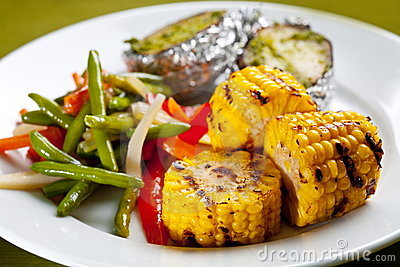 Meal of corn on the grill