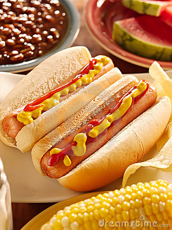 Meal with hot dogs