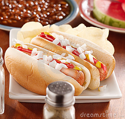 Meal with hot dogs with onion and conidments