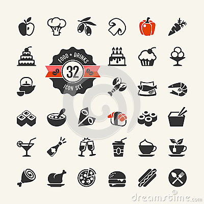 Free Meal Icons Set Stock Photo - 38418630