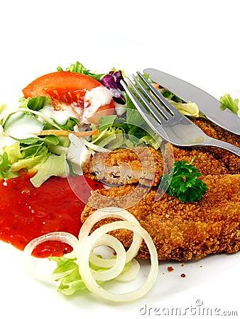 Meal of steak & salad