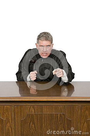 Mean Angry Law Judge with Sneer Isolated on White