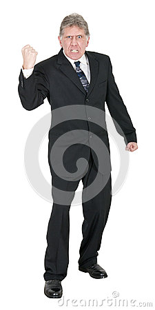 Mean Angry Businessman Fist Isolated on White