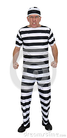 Mean Angry Convict Burglar Isolated on White