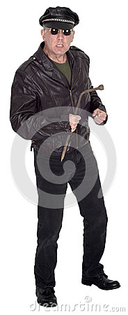 Mean, Angry, Nasty Biker Man Isolated