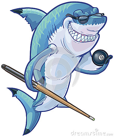 Free Mean Cartoon Pool Shark With Cue And Eight Ball Stock Photography - 55166322