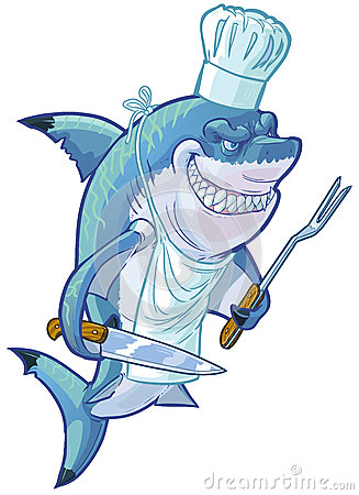 Mean Cartoon Shark Chef With Barbecue Utensils Stock