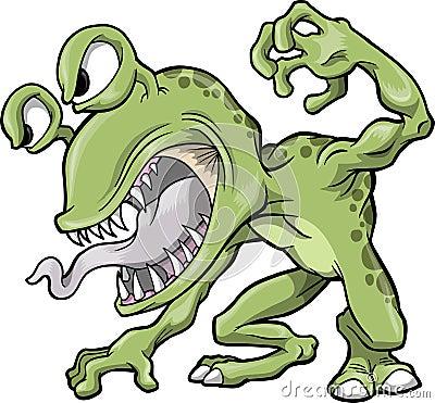 Mean Green Monster Vector