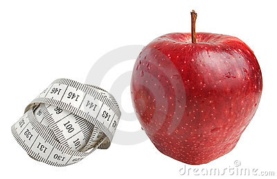 Measure tape and apple
