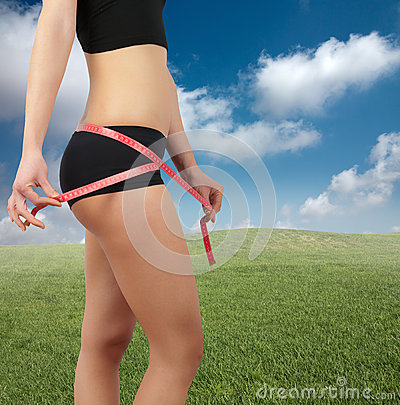 Measuring belly after diet