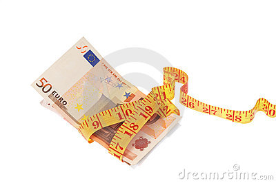 Measuring tape and euro banknotes