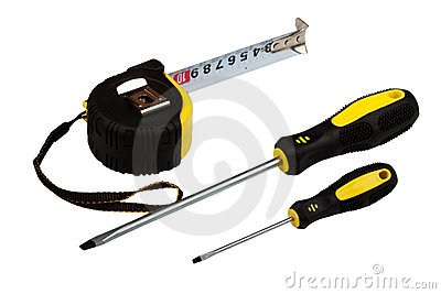 Measuring tape and two screw-drivers