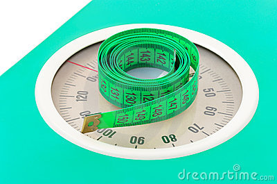 Measuring tape on weight scale
